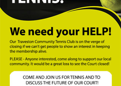 Save Traveston Tennis flyer